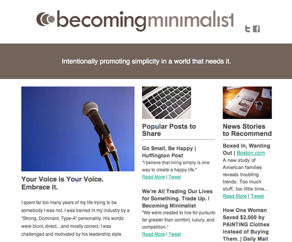 Becoming Minimalist Newsletter Join The Movement